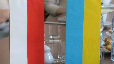 Flaga Polski i flaga Ukrainy