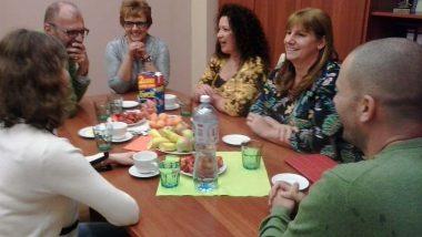 Spotkanie uczestników wizyty studyjnej zwojewódzkim koordynatorem Tomaszem Wojtasikiem orazzDyrektorem X Liceum Ogólnokształcącego wKatowicach, Barbarą Nowak