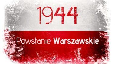 flaga Polski z napisem 1944 powstanie Warszawskie