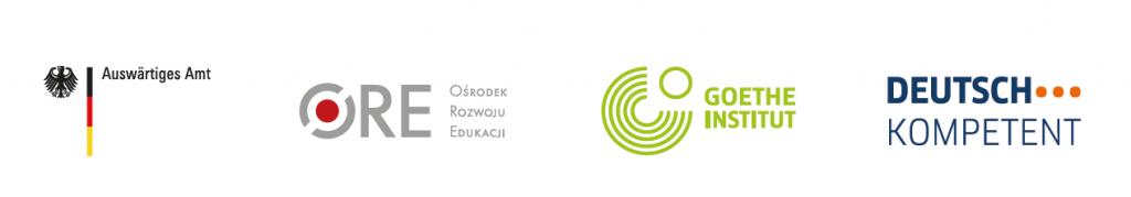 Logotypy: Auswärtiges Amt, Ośrodek Rozwoju Edukacji, Goethe Institut, Deutsch Kompetent
