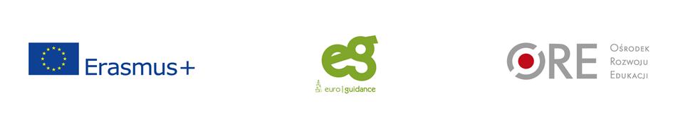 Logotypy: erasmus+, Euroguidance, Ośrodka Rozwoju Edukacji