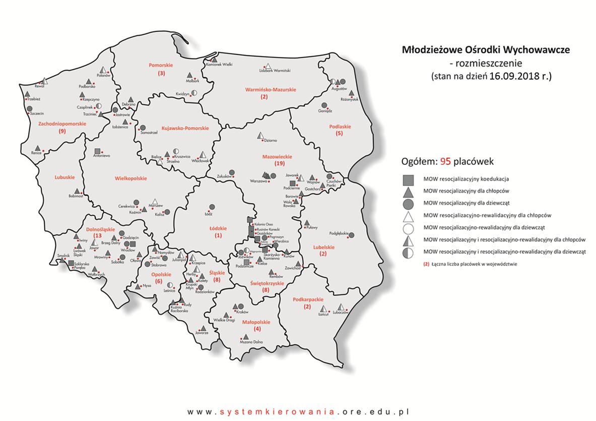 Mapa rozmieszczenia Młodzieżowych Ośrodków Wychowawczych