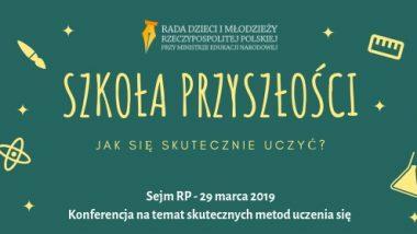 Baner informujący o konferencji szkoła przyszłości
