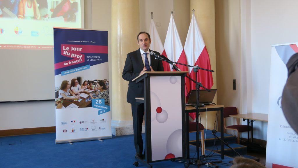 Przemówienia ambasadora Francji w Polsce Frédérica Billet z okazji Dnia Nauczyciela Języka Francuskiego