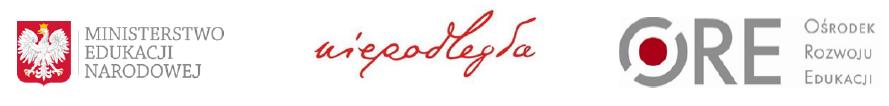 Logotypy: Niepodległa, Ministerstwo Edukacji Narodowej, Ośrodek Rozwoju Edukacji