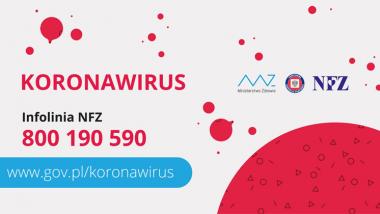 baner z napisek koronawirus oraz numer infolinii NFZ 800190590
