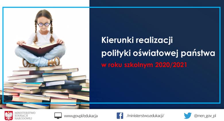 baner z napisem: kierunki realizacji polityki oświatowej państwa w roku szkolnym 2020/2021