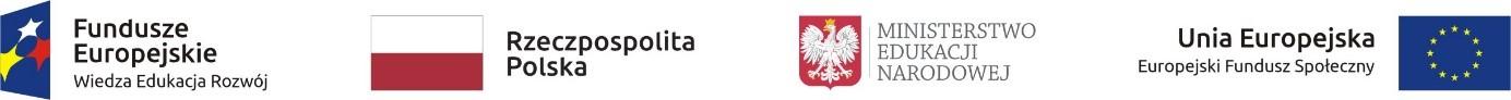 Logotypy (odlewej) Fundusze Europejskie, Rzeczpospolita Polska, Ministerstwo Edukacji Narodowej, Unia Europejska